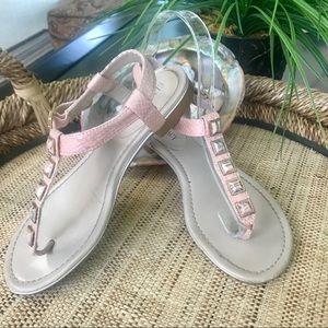 Ellen Tracy Embellished Pink Snakeskin Sandal